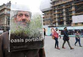 बेल्जियम के कलाकार ब्रसेल्स में टहलने के लिए 'पोर्टेबल ओएसिस'
